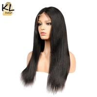 KL Hair Lace Front Human Hair Wigs 250 Density Straight Hair Silk Base Wigs For Black