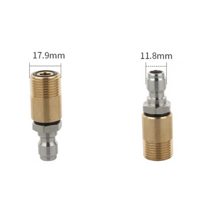 Quick Connector Koppeling Auto Wassen Hogedrukreiniger Tuin Sterke Messing + Rvs Connect Adapter 1 # ~ 19 #