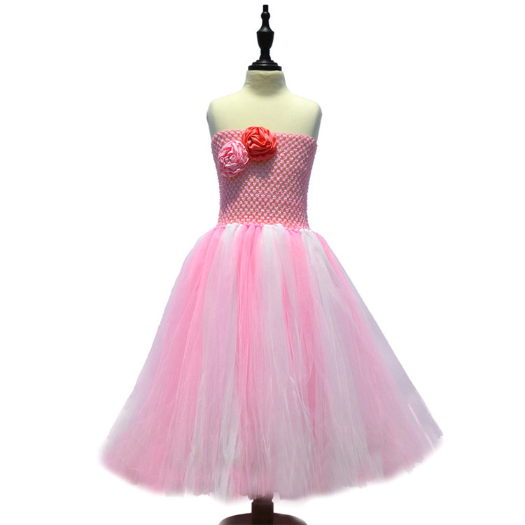 Baby Girls Flower Costume Wedding Birthday Festival Tutu Dress Children Holiday Party Ball Gowns pink evening dresses for kids 2016 new cheap cute flower girls dress for birthday and festival party princess costume kids children dresses baby girl clothing