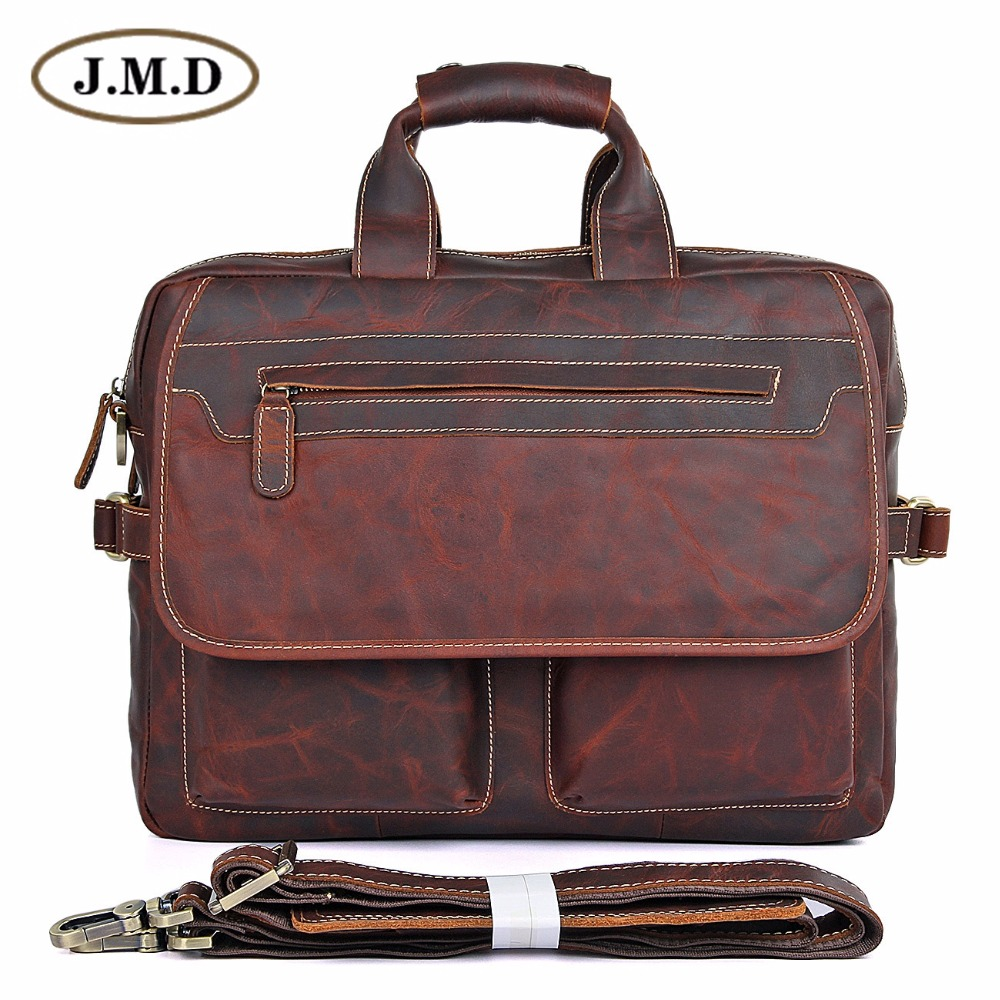 JMD Guarantee Genuine Leather Vintage Style Briefcase Business Case Laptop Bag 7085- guarantee genuine leather vintage style briefcase jmd business laptop bag 7085c 1
