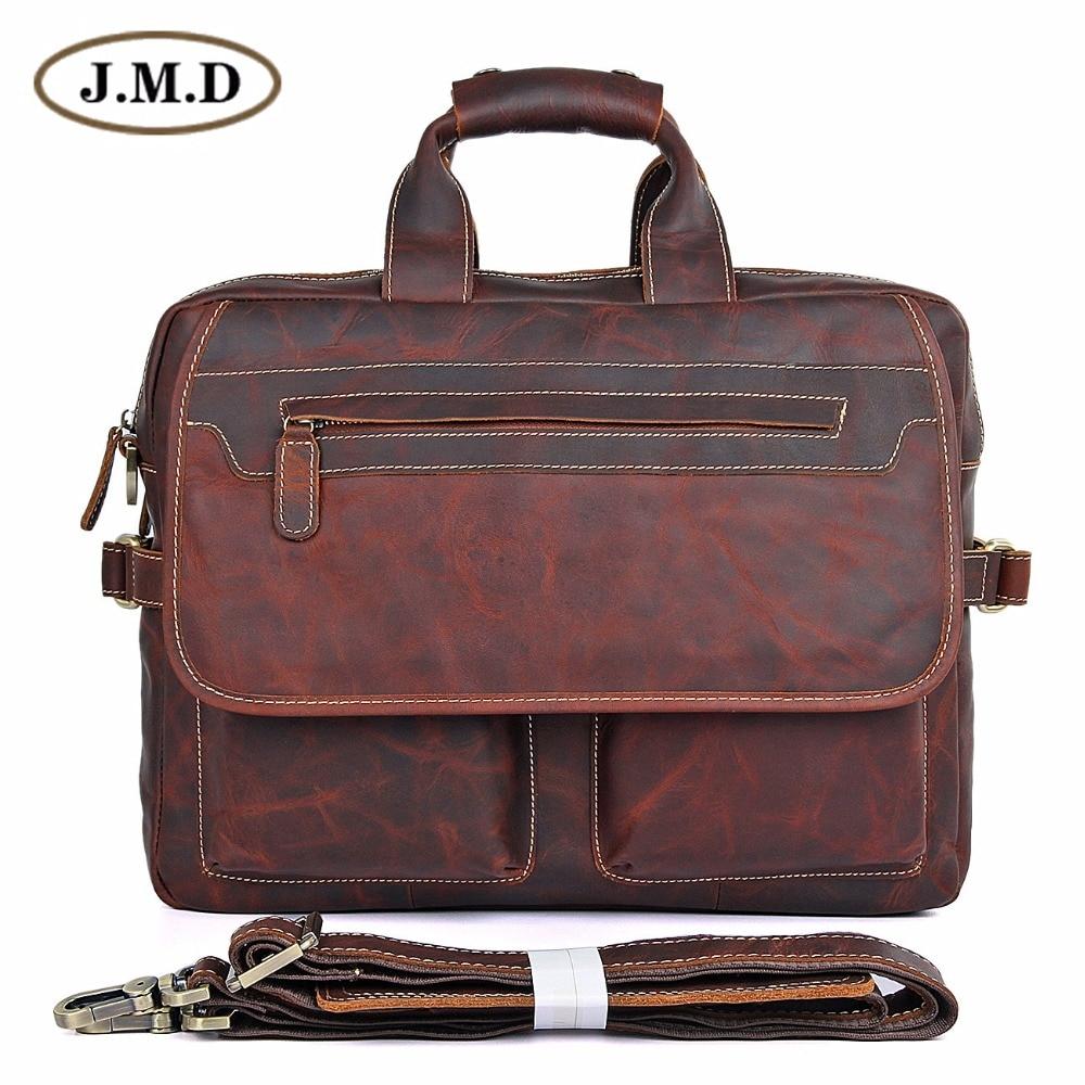 JMD Guarantee Genuine Leather Vintage Style Briefcase Business Case Laptop Bag 7085-