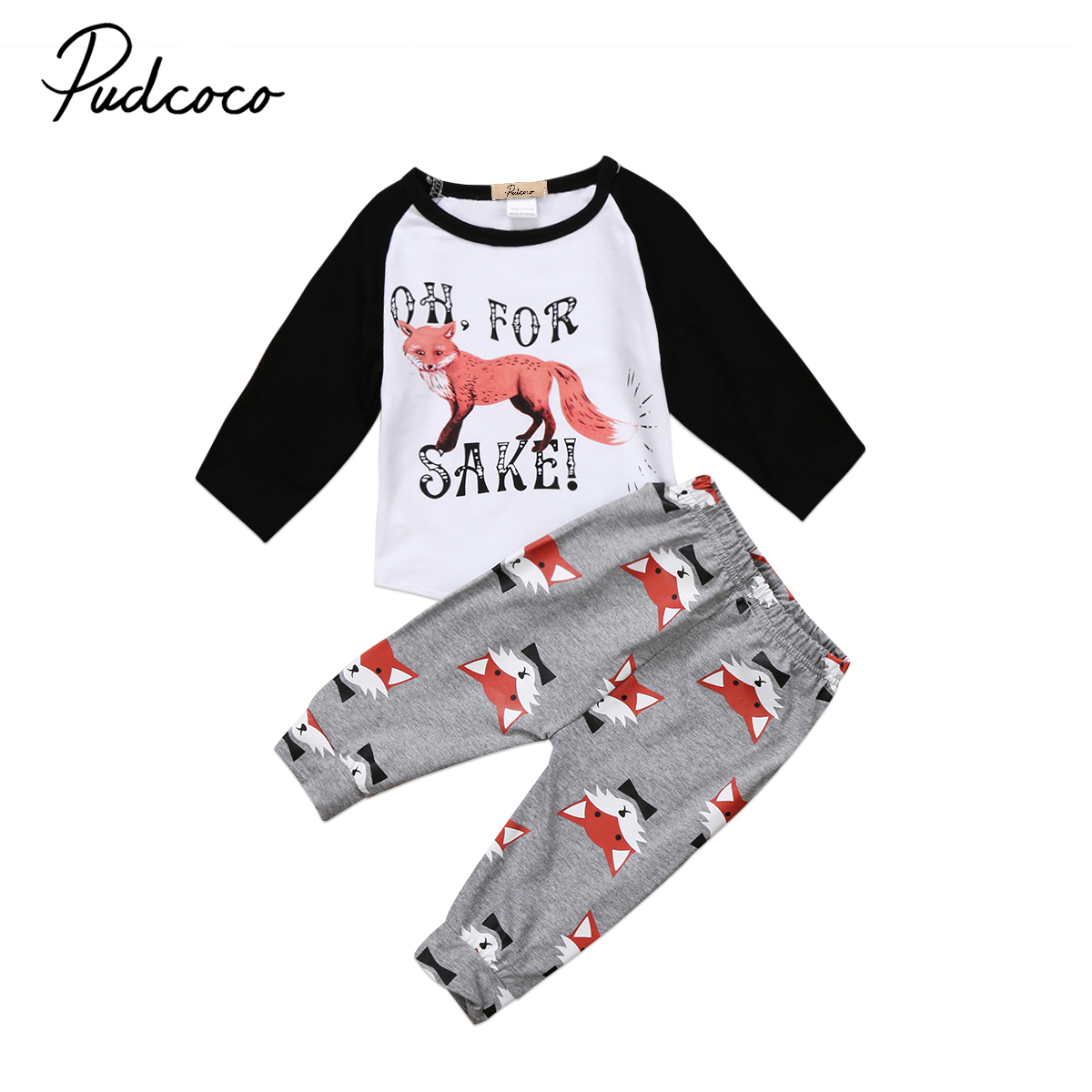 Pudcoco Newborn Baby Boys Girl Clothes Fox T-shirt +Long Pants Outfits Set 0-24 Months Helen115