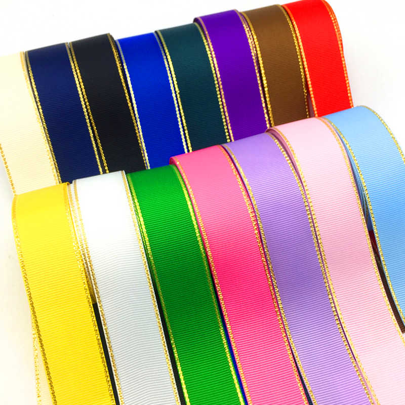 Cinta de decoración para Bodas de 1 pulgada (25mm) de 5 yardas, cinta de envoltura para regalo de Grosgrain con borde metálico dorado, lazos para el pelo DIY, cinta navideña