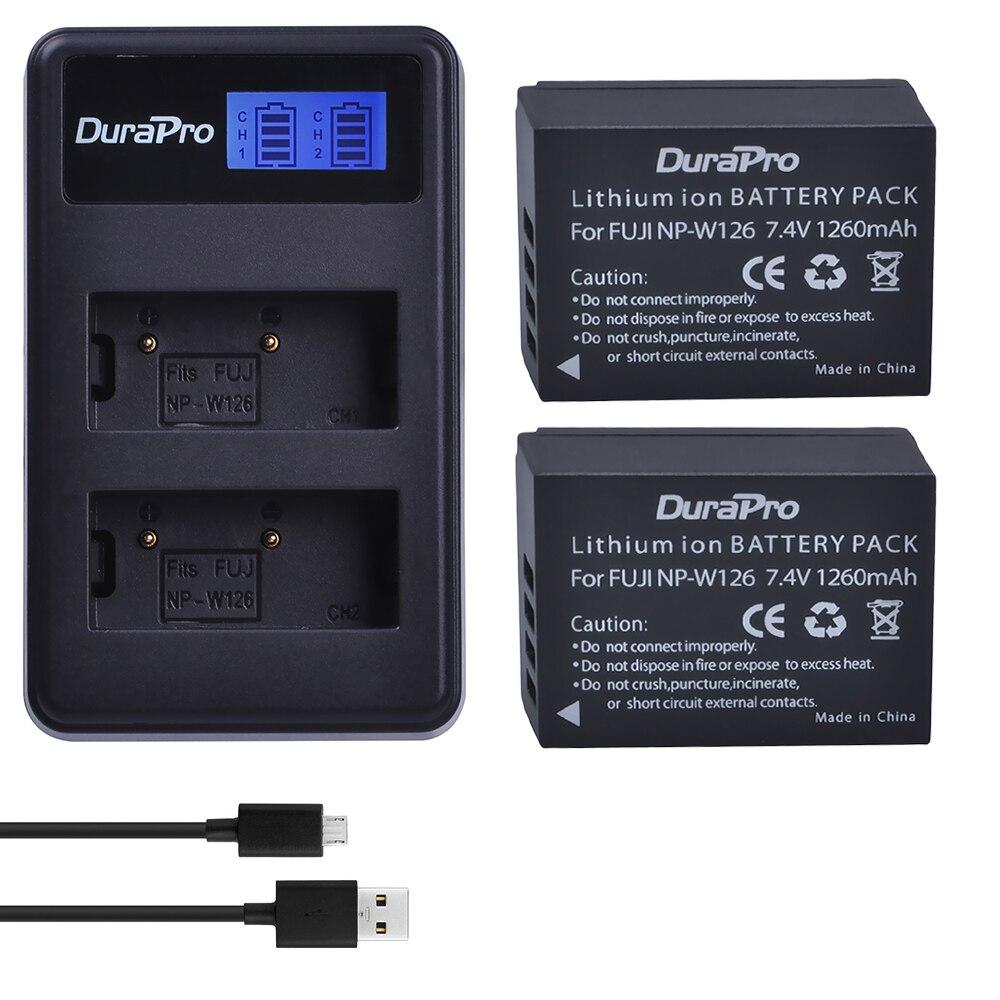 LCD Dual Cargador De Batería Fr NP-W126 Fuji XT20 XE2 XE1 XA5 XA3 XA2 HS50EXR Cámara