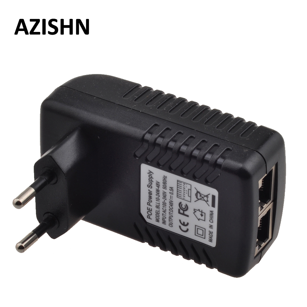 48V POE injector Ethernet CCTV Power Adapter 0.5A 24W,POE pin4/5(+),7/8(-) Compatible with IEEE802.3af for IP camera IP Phones