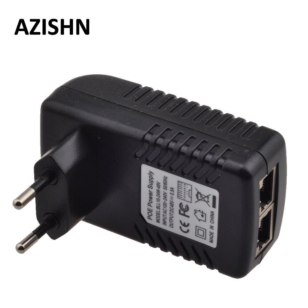 Ethernet POE injector Power Adapter CCTV 0.5A 24 48 v w, POE pin4/5 (+), 7/8 (-) Compatível com IEEE802.3af para Telefones IP câmera IP