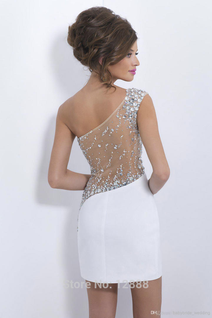 Aliexpress.com : Buy Sparkly Crystal White Cocktail Dresses One ...