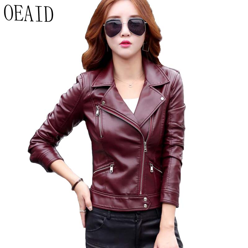 OEAID Ladies   Leather   Jacket 2019 New Spring And Autumn   Leather   Coat Women Short Slim Motorcycle Clothing Female Outerwear Black