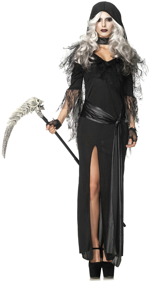 Two piece Sexy Grim Reaper Costume Donning Adult Halloween