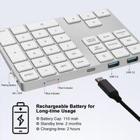34 2 in 1 USB C 3.1 HUB Wireless Numeric Keypad Bluetooth 34 keys Numpad Type C Keypad Wireless For Android Phone For Apple Acount (3)