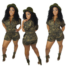 Military Style Camouflage Printed Bodysuit Short-sleeved Straight Pants Casual Single-breasted Womens Nightclub Jumpsuit M7174