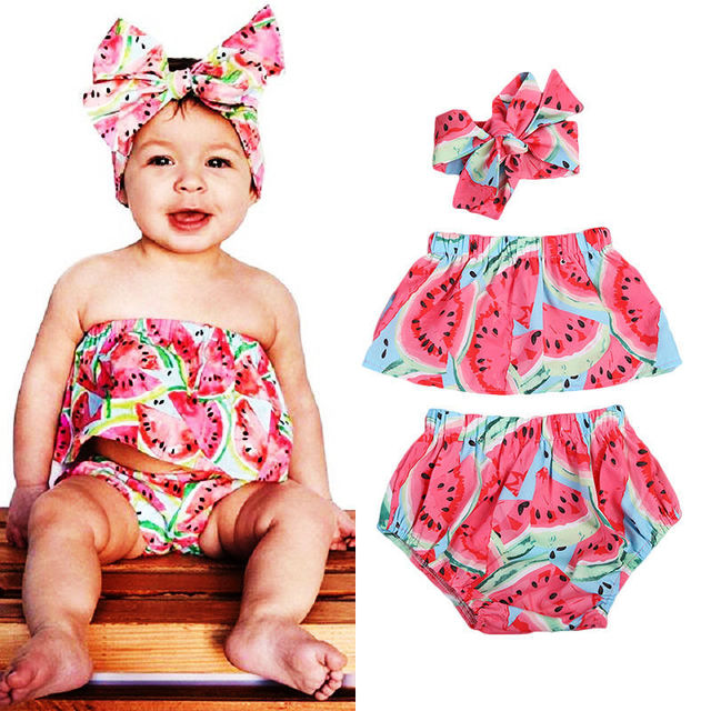 Set 3pcs Watermelon Pattern Off-Shoulder Shirt Shorts Headband Summer Baby Set