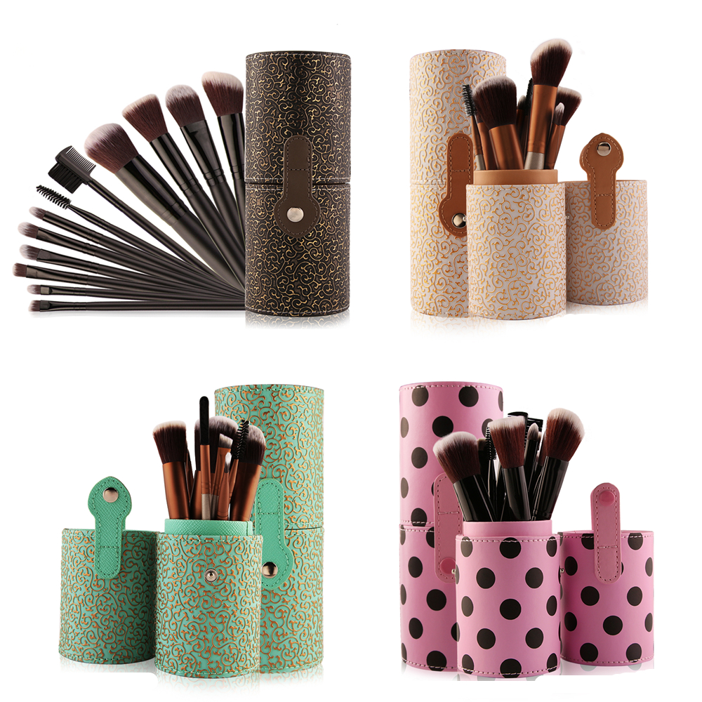 MAANGE Professional 12 Pcs Makeup Brushes Foundation Eyeshadow Powder Blush Lip Brushes Leather Cup with Holder Case Kit Gifts dental kerr finishing polishing assorted kit occlubrush cup brushes