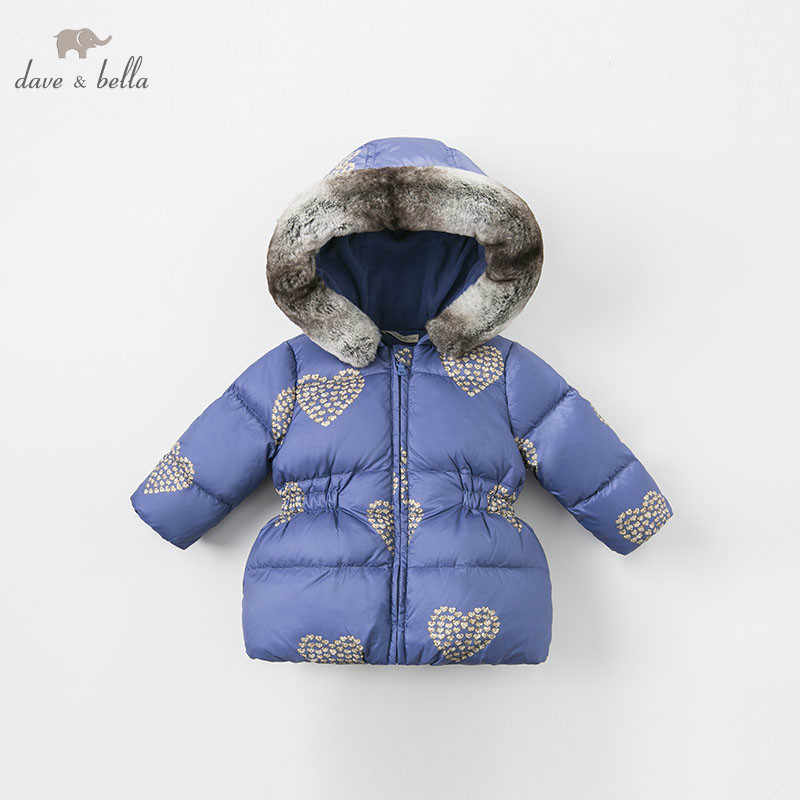 DBA7932 דייב bella בנות למטה מעיל תינוק חורף לבבות הדפסת לוליטה למטה מעיל ילדי ברדס הלבשה עליונה ילדים בוטיק מעיל