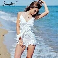 Simplee V Neck Ruffle Bow High Waist Women Jumpsuit Romper Sexy Sleeveless Loose Jumpsuit Summer Streetwear