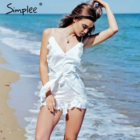 Simplee V Neck Ruffle Bow High Waist Women Jumpsuit Romper Sexy Sleeveless Loose Jumpsuit Summer Streetwear
