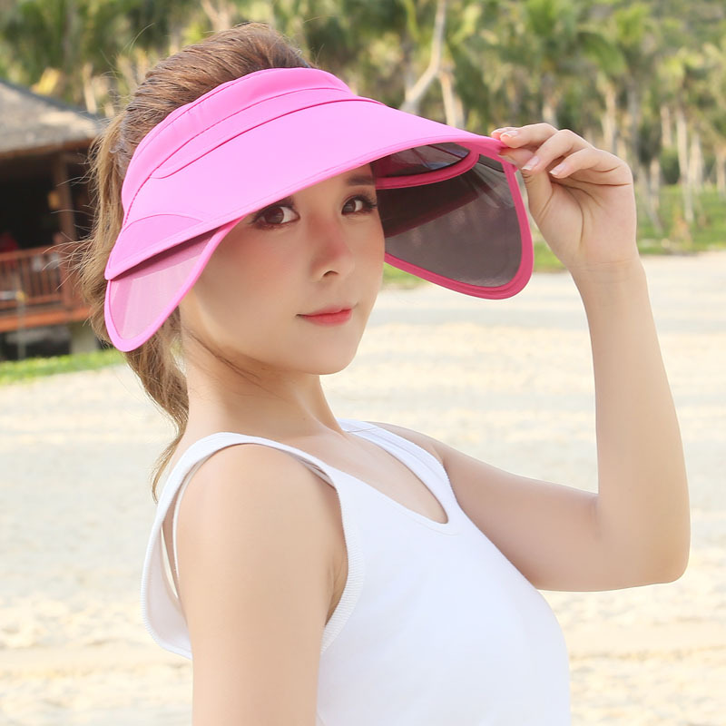 9294c5767c6 2018 New Retractable Visor Female Summer Sun Empty Top Hat Solid Unisex  Sombrero Cap UV Sun Hat Woman Beach Hat Headwear
