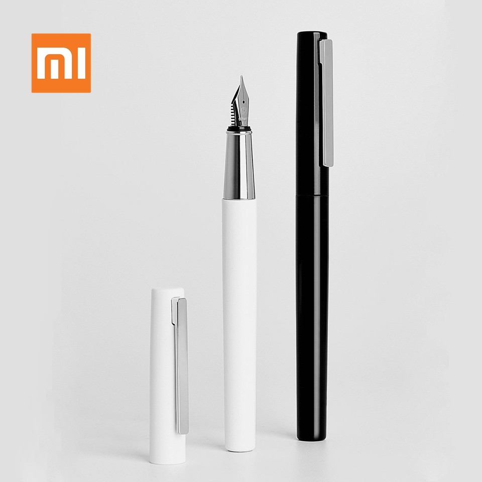 Xiaomi Kaco BRIO Black/White Fountain Pen With Ink Bag Storage Bag Box Case 0.3mm Nib Metal Inking Pen For Writing Signing Pen