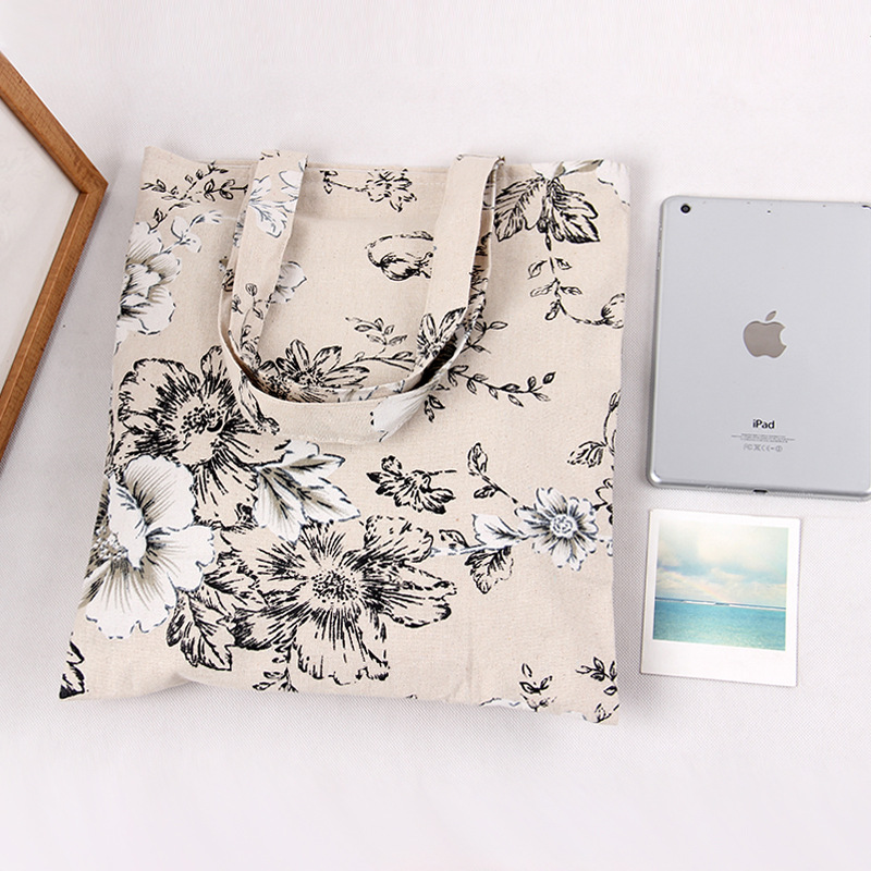 YILE Handmade Floral Big Flower Cotton Linen Eco Reusable Shopping Shoulder Bag Tote L262