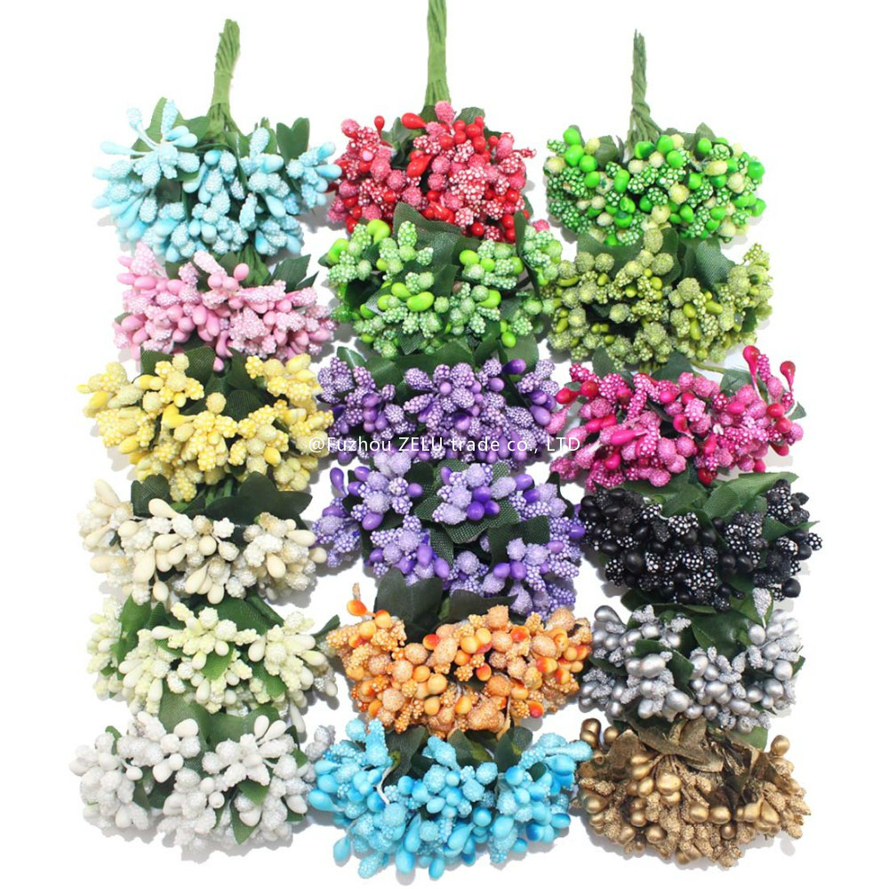 foam artificial flower stamen wire stem creative diy wreath for wedding decoration bridal