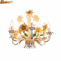 European Style Fashion 220v Iron Garden Pasture Living Room Restaurant Ceiling Lights Candle 6 Heads Chandelier Lighting