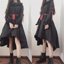 Милый кукольный кукла Стиль Лолита ОП темно-девушка связывают ремень оборками бантом свободное платье