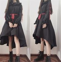 Cute Puppet Doll Style Lolita OP Dark Girl Bind Belt Ruffles Bowknot Loose Dress