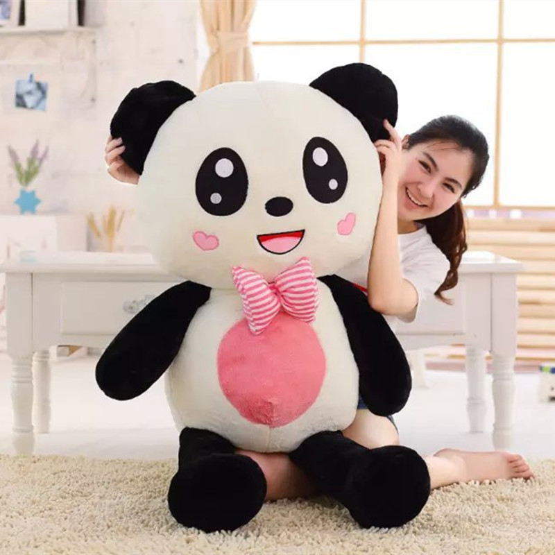 Panda Plush Toy Panda Doll With Bow Tie 100cm big size 40 Panda Soft Gift Kids Gift NEW 110cm cute panda plush toy panda doll big size pillow birthday gift high quality