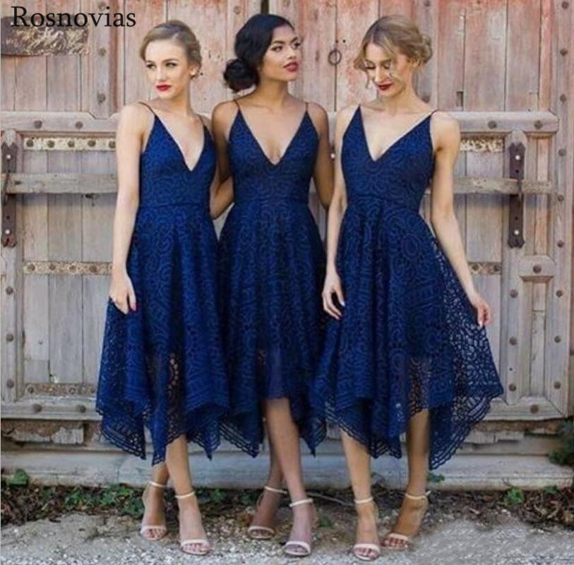 Blush Pink Navy Blue Bridesmaid Dresses 2019 V Neck Backless Tea Length Irregular Hem Beach Lace Wedding Guest Party Gowns in Bridesmaid Dresses from Weddings Events