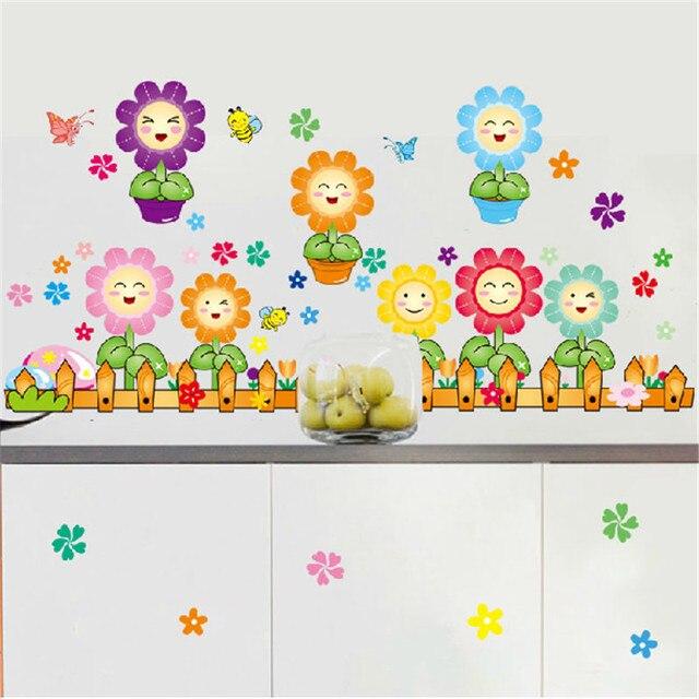 Nette Zaun Sonnenblume Schmetterling Kinder Cartoon Kindergarten Wandaufkleber  Dekorative Aufkleber Wandaufkleber Sockel