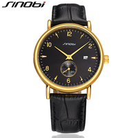 SINOBI Fashion Mens Golden Wrist Watch For Luxury Brand Leather Watchband Causal Business Males Quartz Clock