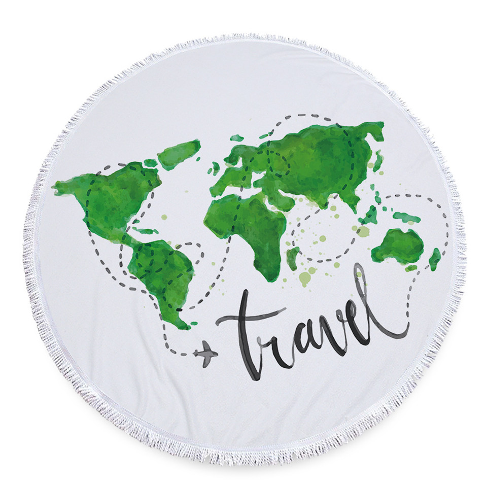 Cilected Green World Map Round Roundie Beach Towel Blankets Oversized Tassel Microfiber Beach Towels Tapestry Yoga Picnic Mat