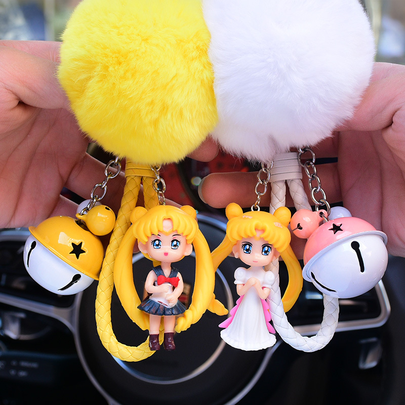 Sailor Moon Keychain Cartoon Pendant Korea Couple Keychain Creative Car Ornaments Cute Keyring RingFunko Pop Rock