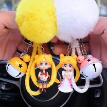 Sailor Moon Keychain Cartoon Pendant Korea Couple Keychain Creative Car Ornaments Cute Keyring RingFunko pop rock cute cartoon style couple lovers keychain silver pair