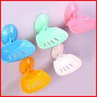 New Delicate Bathroom Accessories Fashion Soap Dish Plate Bathroom Soap Holder Sucker Soap Box Color Random