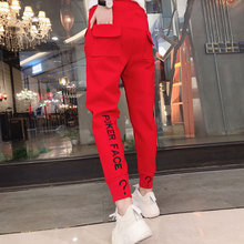 Female Pants Pockets Letter Spring Black Girls White Casual Teenager N08 Autumn And Red