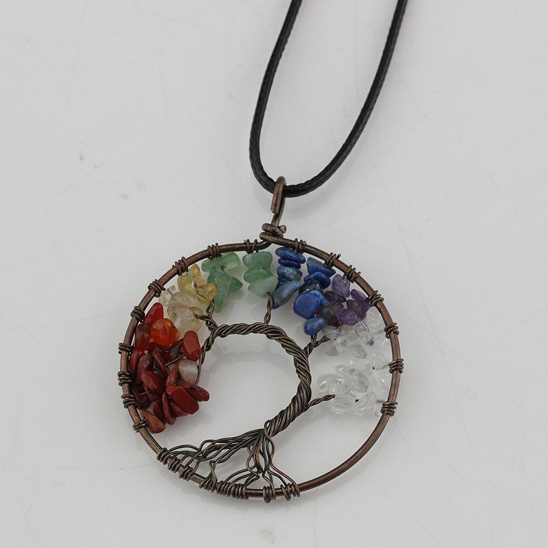 Fashion Antique Copper Round Pendant Necklaces Women Rainbow 7 Chakra Tree Of Life Natural Stone Crystal Choker Necklace Gift