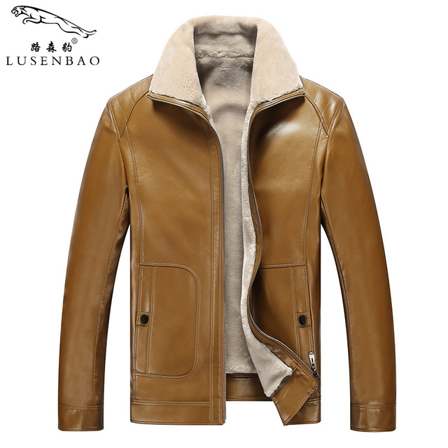PU male leather fur winter coat middle-aged men turn dowm collar leather jacket thick fleece winter clothes new overcoat