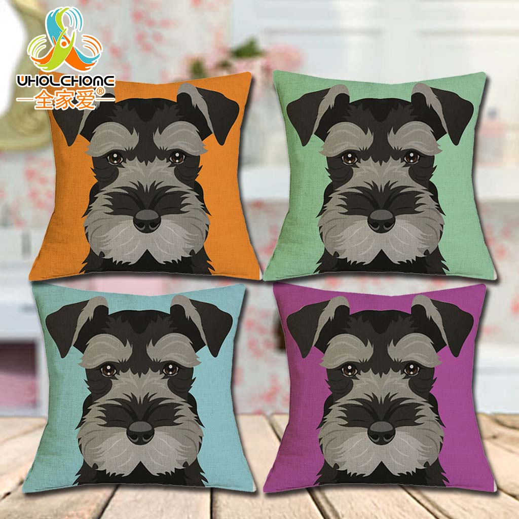 Cushion Cover Christmas Festival Schnauzer 45X45cm Dog with Glasses Pillow Cases Pillowcase Bedroom Sofa Decoration