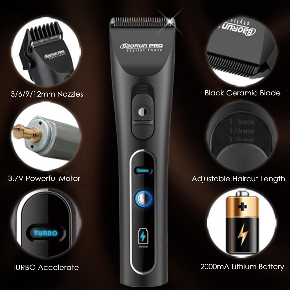Professional Electric Hair Clipper Lithium A6 Rechargeable Hair Trimmer Titanium Ceramic Blade for Salon Hair Cutting