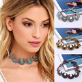 Hot Boho Retro Ethnic Silver Collar Choker Necklace Vintage Turquoise Bead Gypsy Torques Necklace Women Moon Shape Neck Jewelry