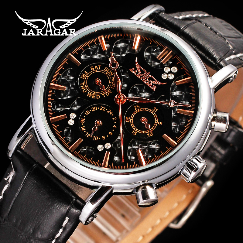 Jaragar Men's Automatic Watch Top Luxury Brand Genuine Leather Band Watches Male Business Mechanical Wristwatch Multifunction 2016 new jaragar automatic men s watch multifunction mechanical designer watches top brand luxury hombre vintage gold watch