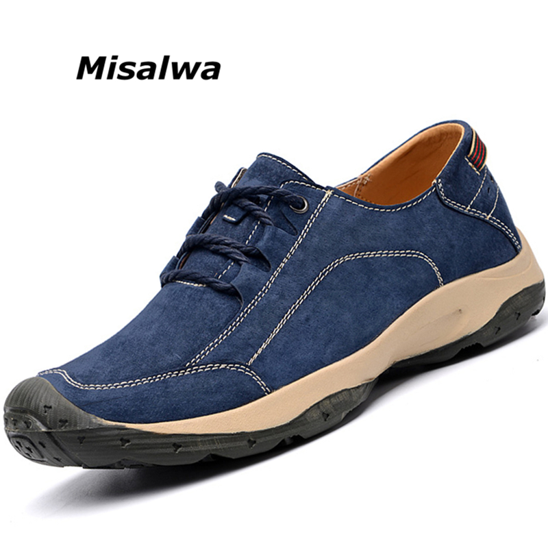 Misalwa 2019 Spring Summer Men Causal Leather Suede Shoes Traditional Men Comfortable Flats Lace up Quality