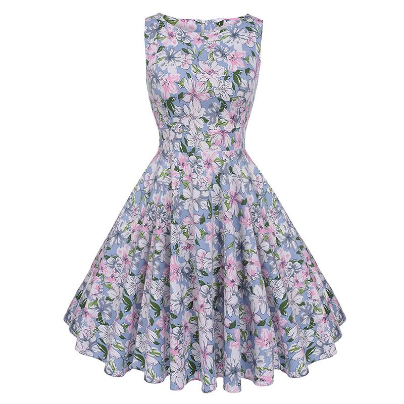 Kostlish Cotton Summer Dress Women 2017 Sleeveless Tunic 50s Vintage Dress Belt Elegant Print Rockabilly Party Dresses Sundress (48)