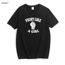 Fight Like A Girl T Shirt Tumblr Women Hipster Slogan Tee Shirt Feminist tshirt Graphic Sign 2017 Summer Tops Women Clothes(China)