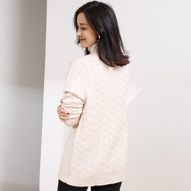 Dilly Fashion Cashmere Chunky Sweater Women Cable Knitting Pattern