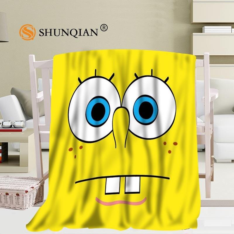 Personnalisé Spongebob dessins animés couverture doux bricolage votre image décoration chambre taille 56x80 pouces, 50X60Inch,40X50Inch A7.10