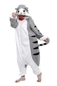 Image 2 - Bikirub unisex adult đồ ngủ đồ ngủ dễ thương pho mát tabby cat cartoon quần áo ngủ pyjama phụ nữ lông cừu đội mũ trùm đầu animal pajama bộ