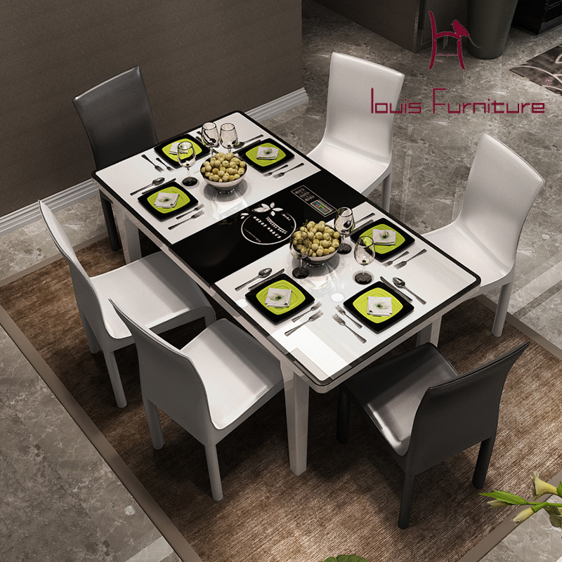 6 Chair Dining Table Contemporary And Contracted Induction Cooker Toughened