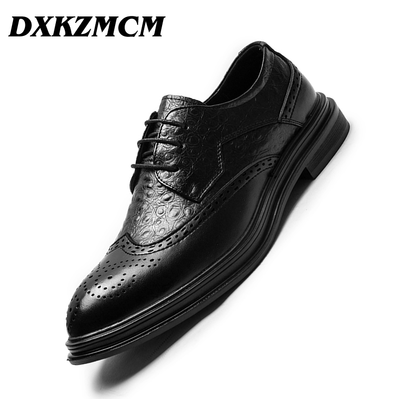 DXKZMCM Leather shoes Men Dress Shoe Pointed Business Oxfords Shoes For Men Lace Up Designer Luxury Men Formal ShoesDXKZMCM Leather shoes Men Dress Shoe Pointed Business Oxfords Shoes For Men Lace Up Designer Luxury Men Formal Shoes